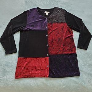 Vintage EUC  Bechamel patchwork velvet cardigan